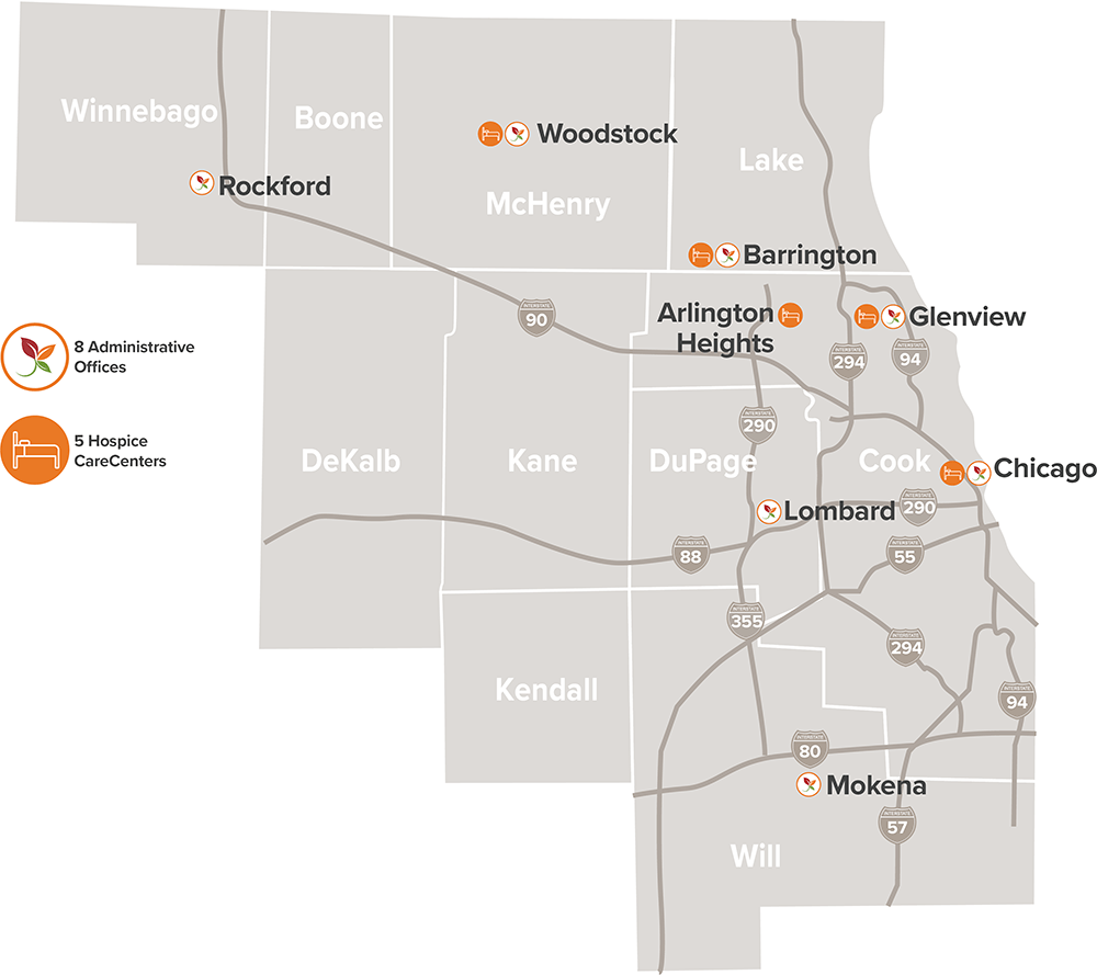 JourneyCare operates within 10 counties in the Chicago region